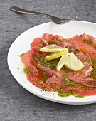 Walnut carpaccio with crushed pistachios