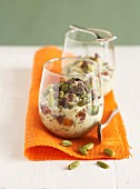 Pistachio rice pudding with chocolate chips