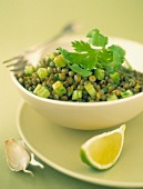 Green lentil and celery stalk salad with cilantro