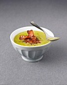 Cream of split pea soup with bacon