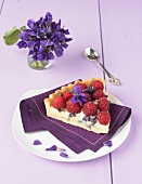 Raspberry and crystallized violet tart