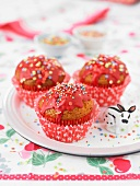 Vanilla-strawberry cupcakes