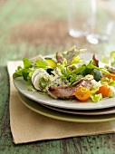 Purslane,duck and blue cheese salad