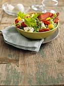 Yellow bell pepper, sun-dried tomato, mozzarella and bresaola salad