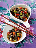 Black beans with peppers