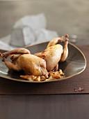 Roast quail with foie gras