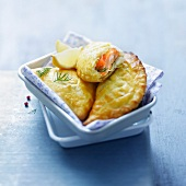 Two salmon and leek turnovers