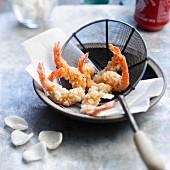 Fried shrimps coated in crushed shrimp crisps