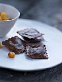 Chocolate and caramelized pineapple raviolis