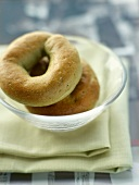 Green tea bagels for breakfast at The Mandarin Oriental