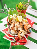 Dublin Bay prawn brochettes marinated in Monbazillac and ginger