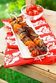 Beef,cherry tomato and pepper brochettes