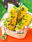 Grilled corn on the cob with parsley butter