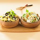 Olive-cheese pasta ,zucchini-walnut pasta
