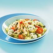Fusilli,shrimp,mushroom and caper salad