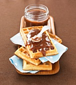 Waffles with chocolate-banana jam