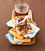 Waffles with chocolate-banana jam