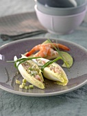 Shrimp-avocado chicory leaves