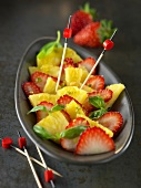 Strawberry and pineapple carpaccio with basil