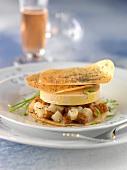 Foie gras,pear and gingerbread crisp mille-feuille