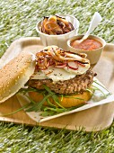 Goat's cheese and onion hamburger
