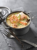 Star anise and vanilla-flavored salmon Blanquette