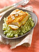 Thick piece of cod in parmesan crust, potato and parsley mash