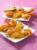 Shrimp,nectarine and sesame seed mini brochettes