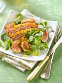 Roast duck breast with figs and corn lettuce