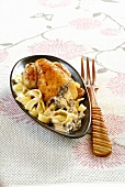 Chicken with morels and fresh tagliatelles