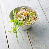 Beansprout, mushroom and graprfruit salad