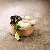 Nems (frittierte Teigröllchen, Vietnam) mit Garnelen