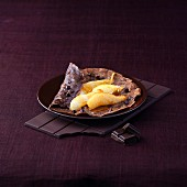 Chocolate crepe with pears