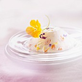 Blancmange with edible flowers