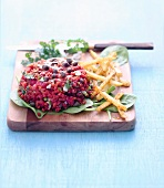 Steak tartare with celery fries
