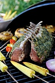 Roasted loins of lamb with cilantro