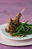 Lamb chops with hazelnut crust