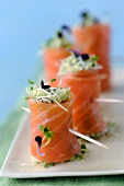 Smoked salmon,cream of avocado and sprout nems