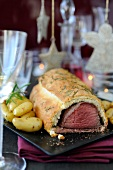 Beef Wellington with herbs and Ratte potatoes