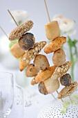 Mini bread brochettes