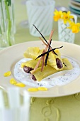 Pineapple and chocolate mousse nems