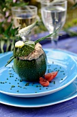 Round zucchini stuffed with sardine mousse and chives