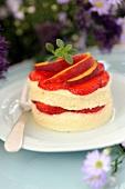 Vanilla cream and steamed strawberry and peach dessert