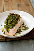 Salmon with bread and herb crust
