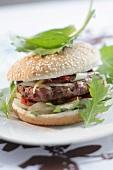 Bagel hamburger with onions