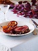 Fillet of doe with roasted fruit