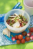 Zucchini,beetroot, goat's cheese, quinoa and date salad with raspbeerry jam dressing