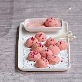 Pink biscuit truffles