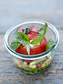 Tomato stuffed with goat's cheese and pistou Verrine