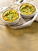 Broad bean,basil and parmesan savoury clafoutis